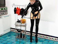 Rubber clinic patient waiting for the doctor dressing latex