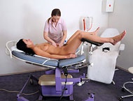 Careen 33 years. Inspection before surgery with injection, enema, blood pressure, doppler, pussy shaving, two speculums and orgasm!