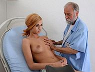 Ria, 18 years old girl gyno exam. Checkup with breasts exam, abdominal, thermometers, feet exam, bimanual exam, douche, two speculums, suppository and vibrator orgasm heartbeat.