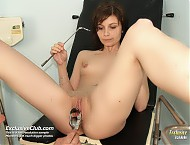 Terri very kinky gyno pussy speculum examination at doctor office by pervy female doctor