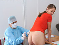 Jennifer, 22 years. Bicycle trainer, anal exam, thermometers, frenulum exam, two speculums, suppository and glass dildo orgasm heartbeat!