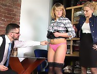 Undressed office girl interview