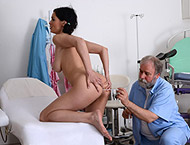 Luisa, 22 years. Checkup with thermometers, enema, anal exam, two speculums, behind speculum and vibrator orgasm heartbeat!